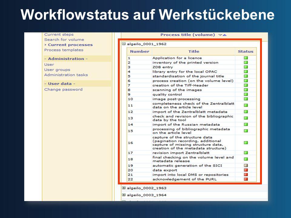 Workflowstatus auf Werkstückebene