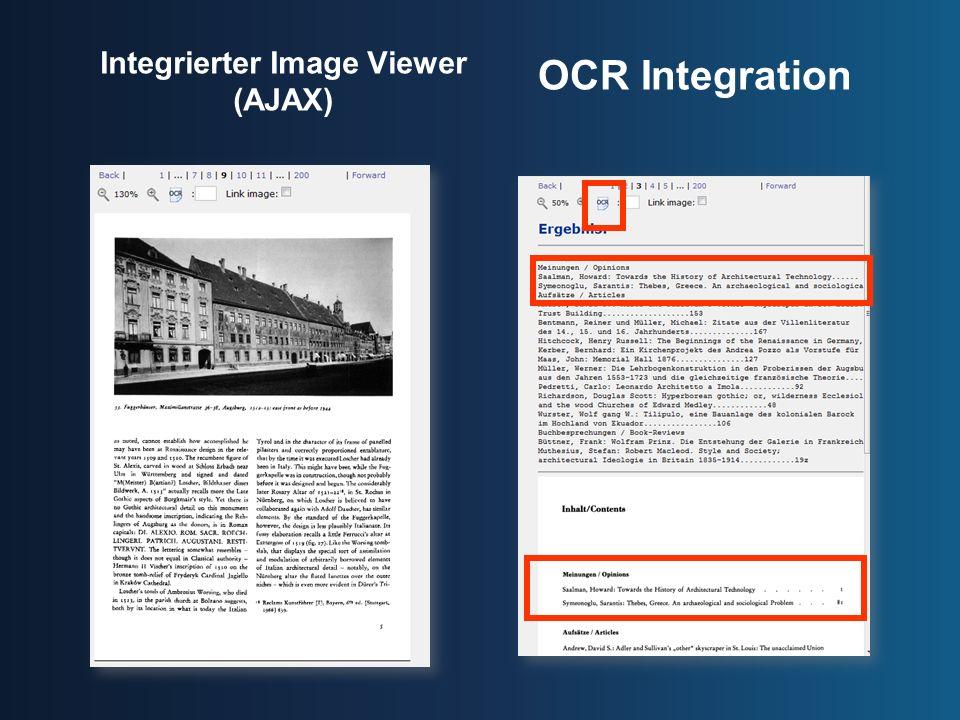 Integrierter Image Viewer (AJAX) OCR Integration