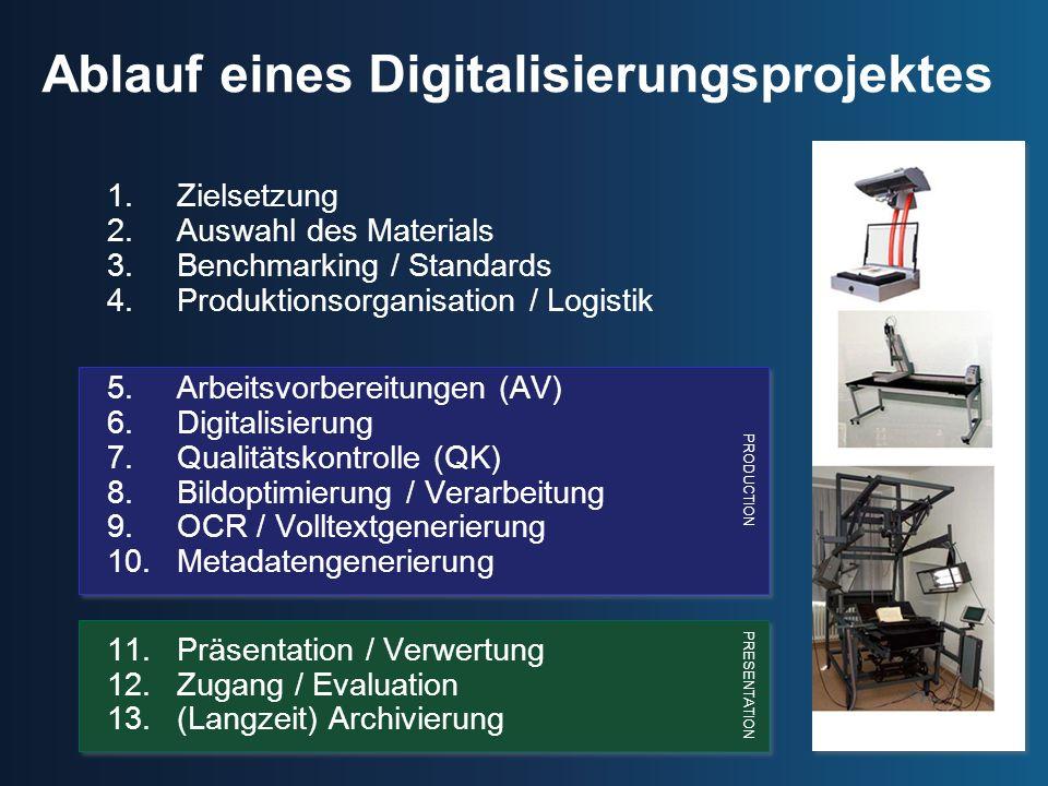 PRODUCTION PRESENTATION Ablauf eines Digitalisierungsprojektes 1.Zielsetzung 2.Auswahl des Materials 3.Benchmarking / Standards 4.Produktionsorganisat