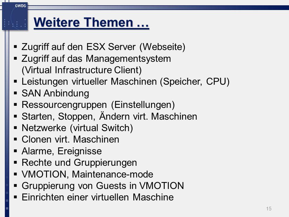 15 Zugriff auf den ESX Server (Webseite) Zugriff auf das Managementsystem (Virtual Infrastructure Client) Leistungen virtueller Maschinen (Speicher, CPU) SAN Anbindung Ressourcengruppen (Einstellungen) Starten, Stoppen, Ändern virt.