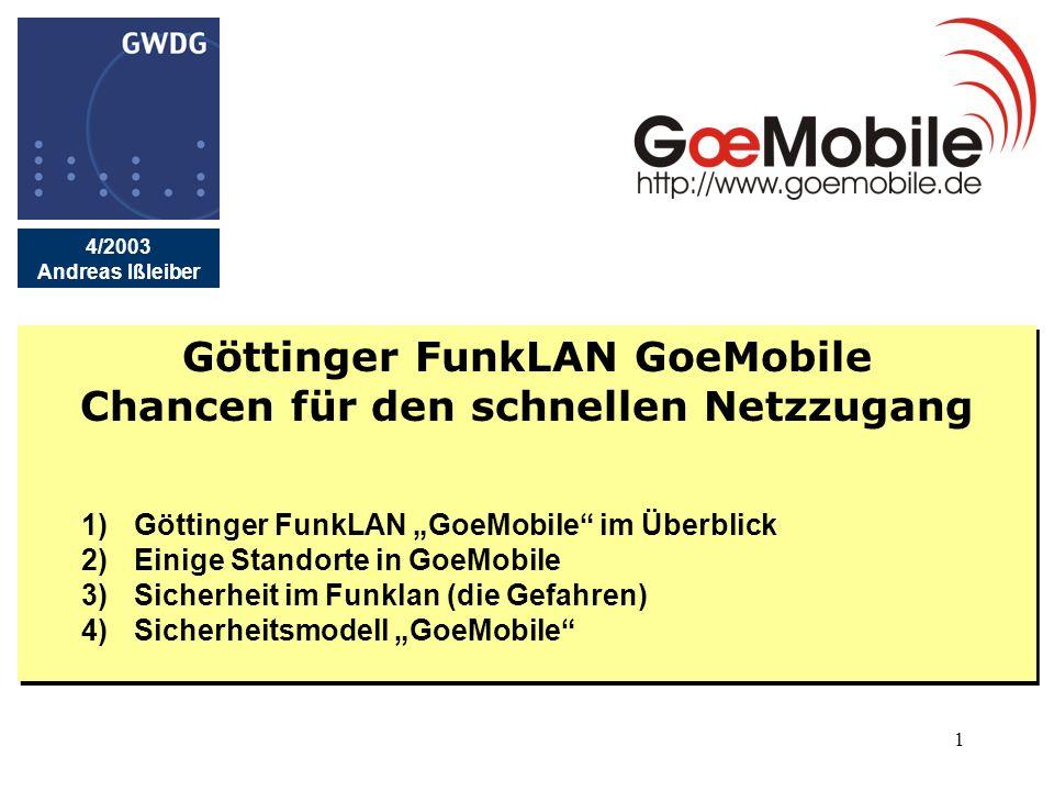 1 Göttinger FunkLAN GoeMobile Chancen für den schnellen Netzzugang 1)Göttinger FunkLAN GoeMobile im Überblick 2)Einige Standorte in GoeMobile 3)Sicher
