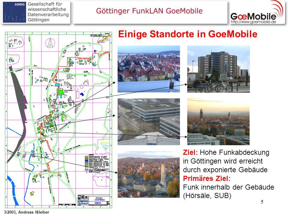 5 Einige Standorte in GoeMobile Ziel: Hohe Funkabdeckung in Göttingen wird erreicht durch exponierte Gebäude Primäres Ziel: Funk innerhalb der Gebäude