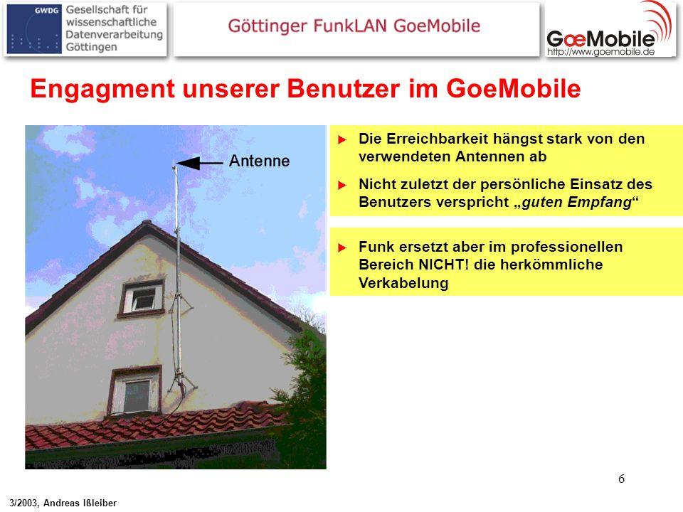 6 Engagment unserer Benutzer im GoeMobile Die Erreichbarkeit hängst stark von den verwendeten Antennen ab Nicht zuletzt der persönliche Einsatz des Be