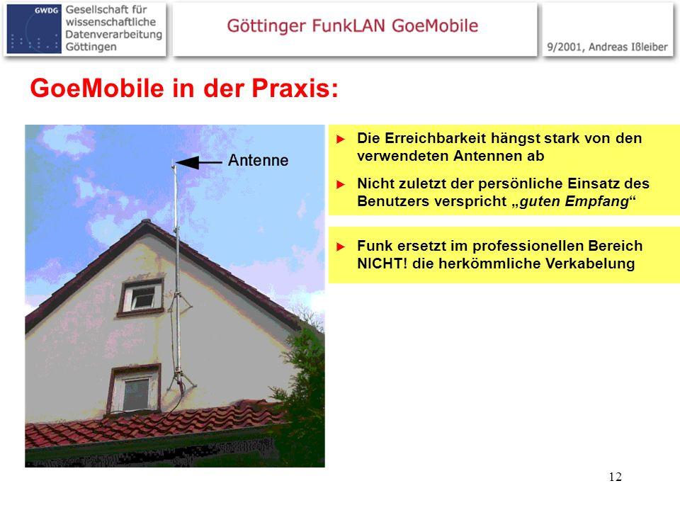 12 GoeMobile in der Praxis: Die Erreichbarkeit hängst stark von den verwendeten Antennen ab Nicht zuletzt der persönliche Einsatz des Benutzers verspr