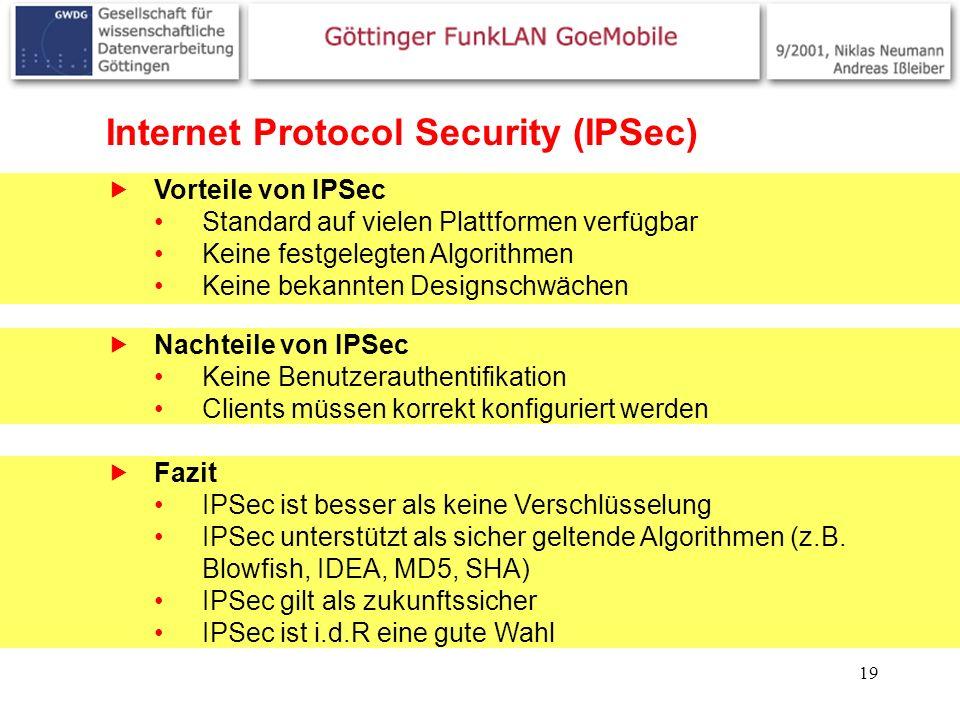 19 Internet Protocol Security (IPSec) Vorteile von IPSec Standard auf vielen Plattformen verfügbar Keine festgelegten Algorithmen Keine bekannten Desi