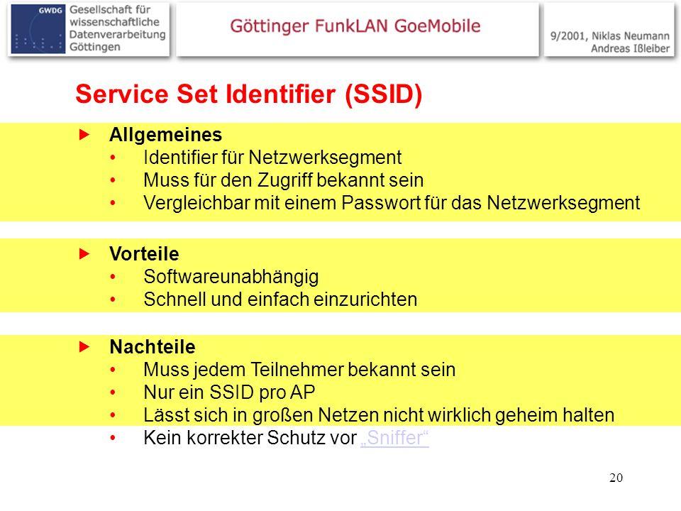 20 Service Set Identifier (SSID) Allgemeines Identifier für Netzwerksegment Muss für den Zugriff bekannt sein Vergleichbar mit einem Passwort für das