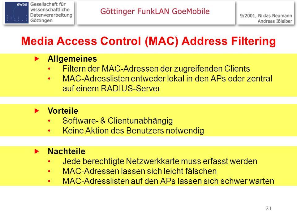 21 Media Access Control (MAC) Address Filtering Allgemeines Filtern der MAC-Adressen der zugreifenden Clients MAC-Adresslisten entweder lokal in den A