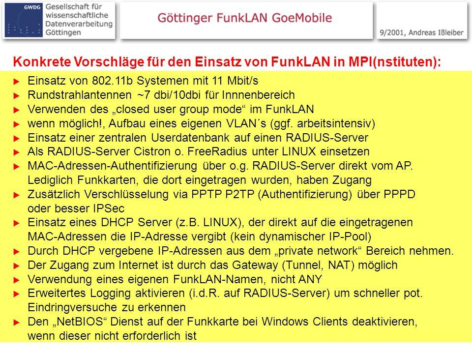 25 Konkrete Vorschläge für den Einsatz von FunkLAN in MPI(nstituten): Einsatz von 802.11b Systemen mit 11 Mbit/s Rundstrahlantennen ~7 dbi/10dbi für I