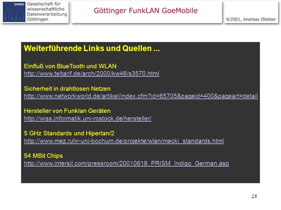 28 Weiterführende Links und Quellen... Einfluß von BlueTooth und WLAN http://www.teltarif.de/arch/2000/kw46/s3570.html http://www.teltarif.de/arch/200