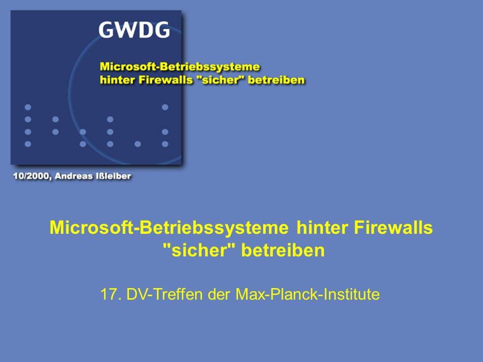 Gesellschaft für wissenschaftliche Datenverarbeitung Göttingen Einige Regeln, Windows-Systeme sicherer zu betreiben Microsoft-Betriebsysteme hinter Firewallssicher betreiben 10/2000 Andreas Ißleiber 18.) NetBIOS auf FW filtern NetBIOS Ports vom LAN ins Internet sperren Insbesondere Port (139), für Freigaben ist zu Filtern I.d.R.
