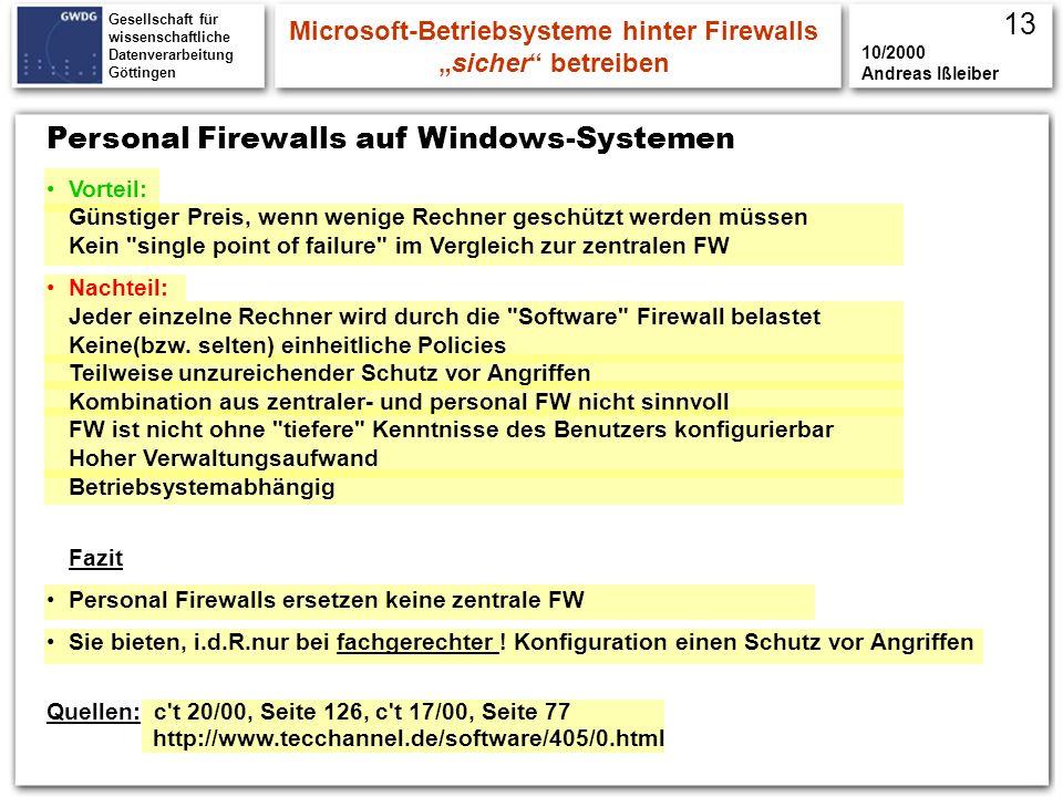 Gesellschaft für wissenschaftliche Datenverarbeitung Göttingen Personal Firewalls auf Windows-Systemen Microsoft-Betriebsysteme hinter Firewallssicher