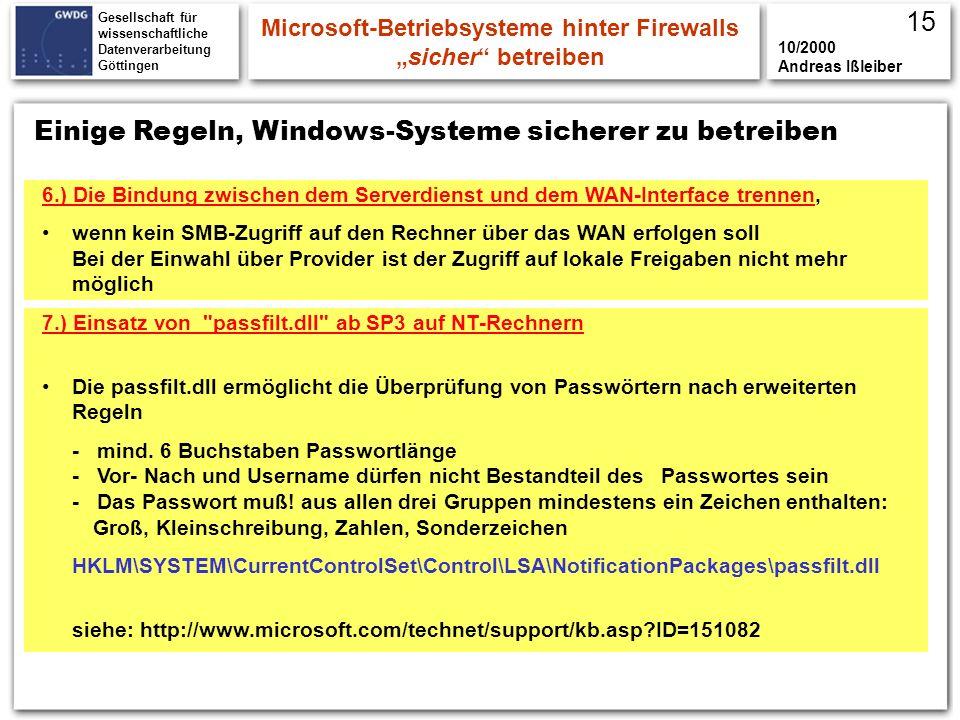 Gesellschaft für wissenschaftliche Datenverarbeitung Göttingen Microsoft-Betriebsysteme hinter Firewallssicher betreiben 10/2000 Andreas Ißleiber Eini
