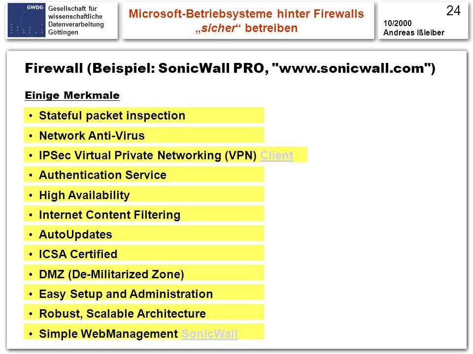 Gesellschaft für wissenschaftliche Datenverarbeitung Göttingen Firewall (Beispiel: SonicWall PRO,