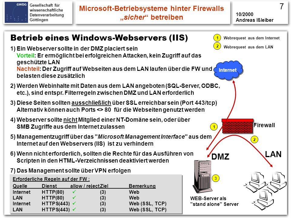 Gesellschaft für wissenschaftliche Datenverarbeitung Göttingen Einige Regeln, Windows-Systeme sicherer zu betreiben Microsoft-Betriebsysteme hinter Firewallssicher betreiben 10/2000 Andreas Ißleiber 12.) Lan Manager (LM) Paßwörter LAN-Managerpasswörter werden nur als Großbuchstaben übertragen Einsatz ist erforderlich wenn im Netz Win9x Rechner integriert sind Bei einer reinen NT Umgebung sind LM-Passwörter zu deaktivieren Durch...