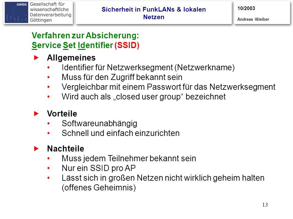 13 Verfahren zur Absicherung: Service Set Identifier (SSID) Allgemeines Identifier für Netzwerksegment (Netzwerkname) Muss für den Zugriff bekannt sei
