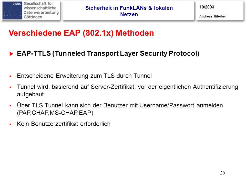20 EAP-TTLS (Tunneled Transport Layer Security Protocol) 3/2003, Andreas Ißleiber Entscheidene Erweiterung zum TLS durch Tunnel Tunnel wird, basierend