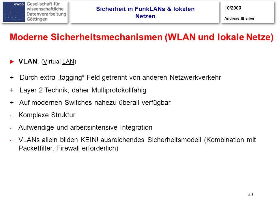 23 3/2003, Andreas Ißleiber + Durch extra tagging Feld getrennt von anderen Netzwerkverkehr + Layer 2 Technik, daher Multiprotokollfähig + Auf moderne