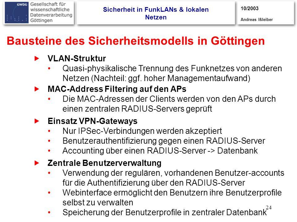 24 Bausteine des Sicherheitsmodells in Göttingen VLAN-Struktur Quasi-physikalische Trennung des Funknetzes von anderen Netzen (Nachteil: ggf. hoher Ma