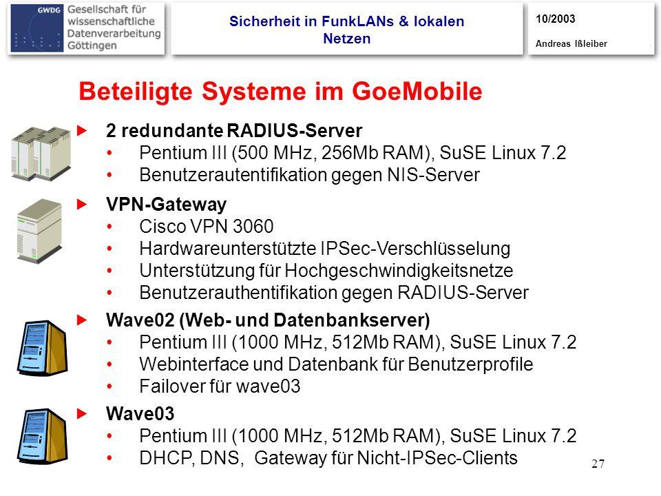 27 Beteiligte Systeme im GoeMobile VPN-Gateway Cisco VPN 3060 Hardwareunterstützte IPSec-Verschlüsselung Unterstützung für Hochgeschwindigkeitsnetze B