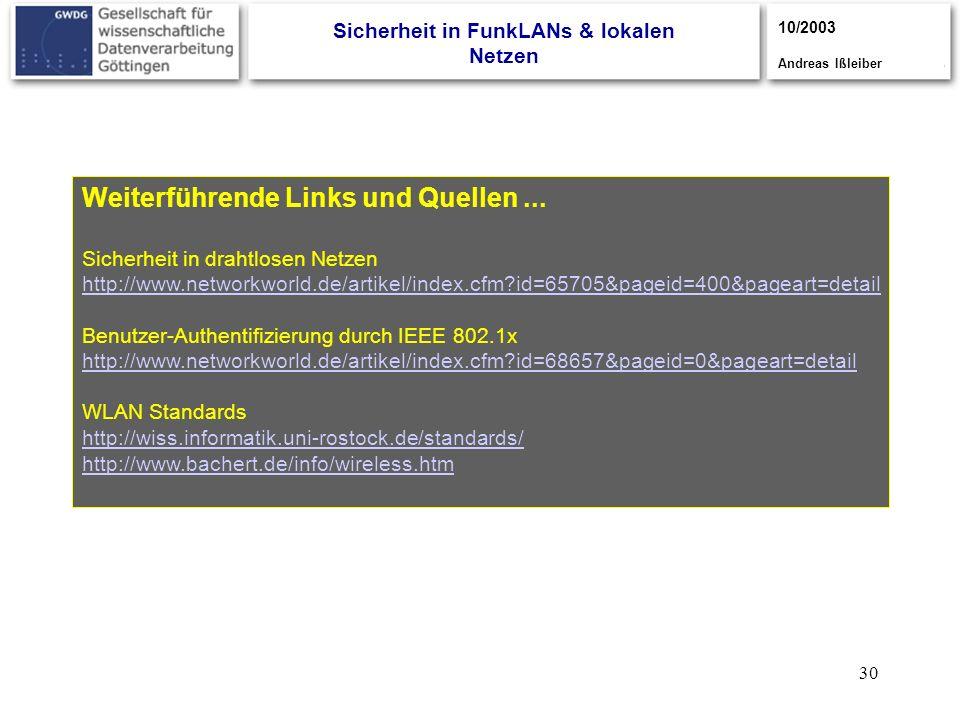 30 Weiterführende Links und Quellen... Sicherheit in drahtlosen Netzen http://www.networkworld.de/artikel/index.cfm?id=65705&pageid=400&pageart=detail