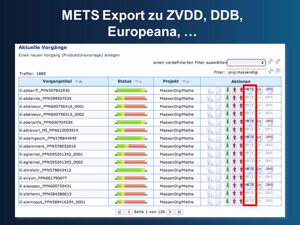 METS Export zu ZVDD, DDB, Europeana, …