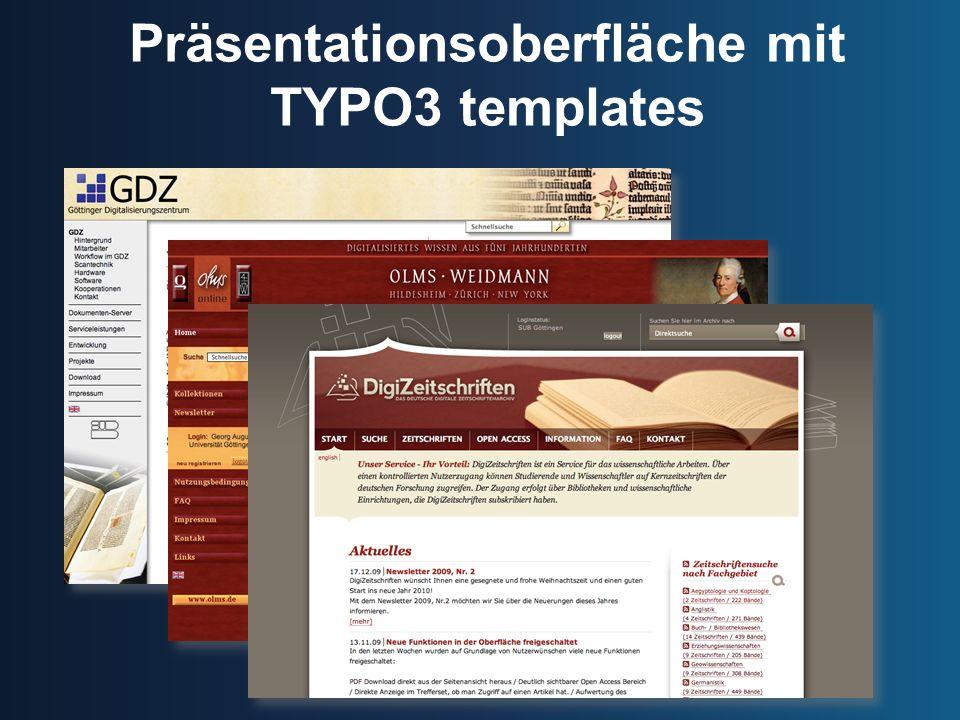 Präsentationsoberfläche mit TYPO3 templates