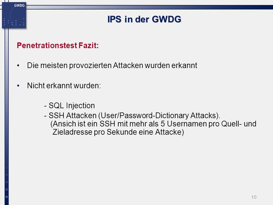 11 IPS in der GWDG Ergebnisse der Testphase: Erkennung & Reports No.