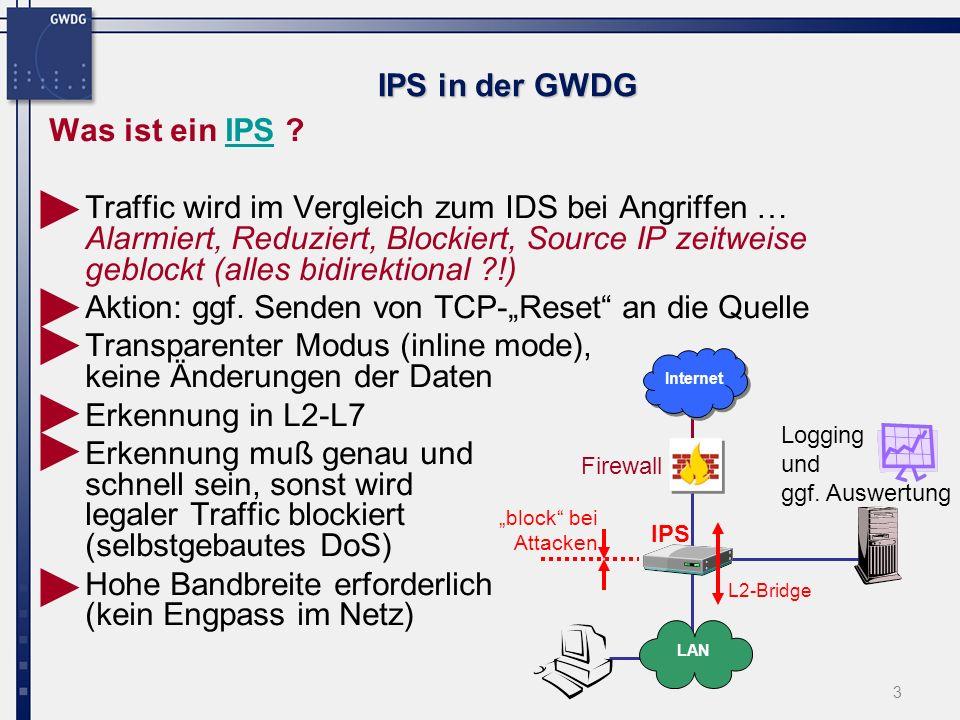 4 IPS in der GWDG IDSIDSIPSIPS + aktive Abwehr von Angriffen + geringerer administrativer Aufwand - im inline mode: schnelle Erkennung und Reaktion erforderlich Hardware hoher Preis + Einsatz mehrerer Sensoren im Netz - Überwachung des IDS durch Administrator erforderlich - (zu)viele Logging- ingformationen vs.