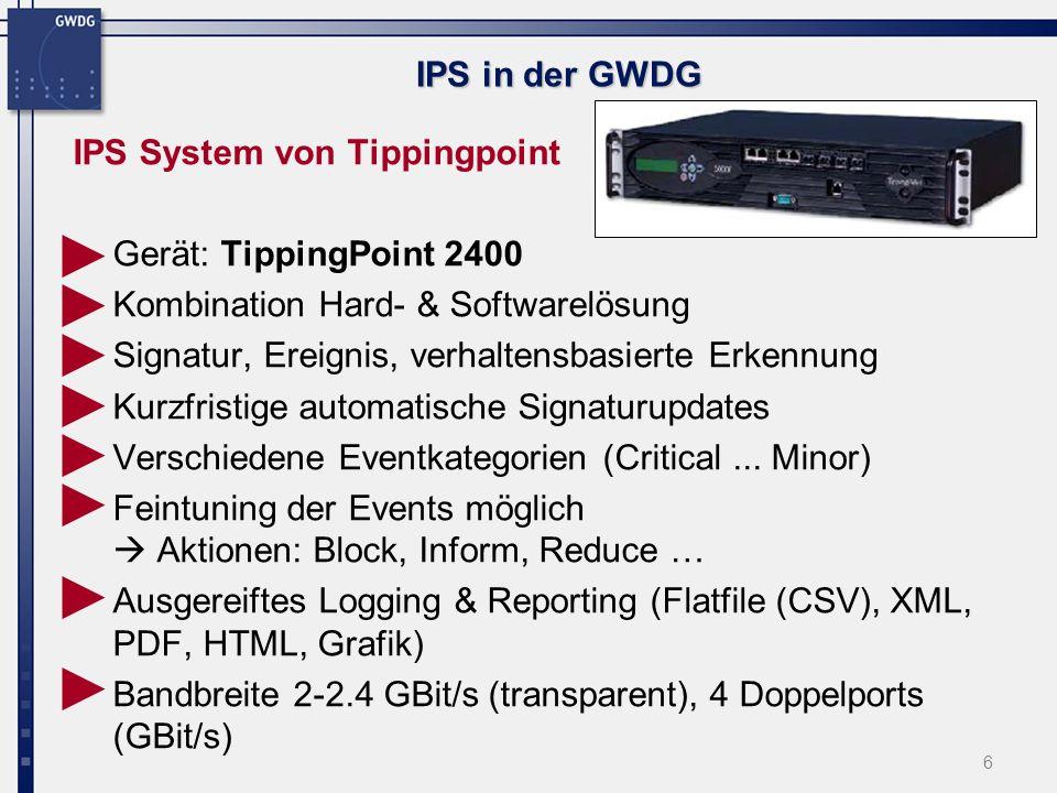 7 IPS in der GWDG IPS System von Tippingpoint (3COM) TippingPoint 2400, 2 Wochen im Test bei der GWDG am - WIN Zugang (1GBit/s) - WLAN Übergang (100MBit/s) Internet GÖNET WLAN PC für Penetrationstest (Angreifer) Honeypot, bzw.