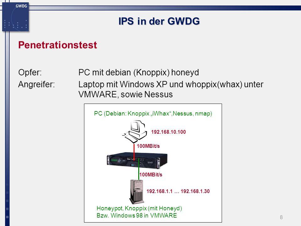 9 IPS in der GWDG Nikto web scan nmap nessus Ping mit Inhalt Stacheldraht Attacke:IPS Logfile Event ID Penetration: kleiner Ausschnitt der Ergebnisse