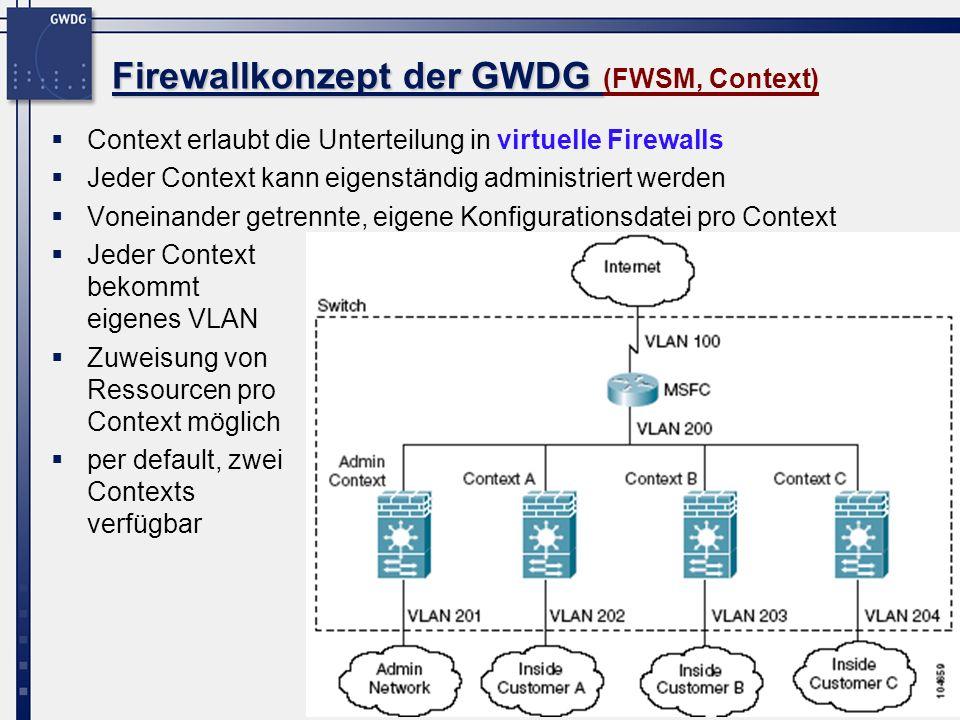 16 Firewallkonzept der GWDG Firewallkonzept der GWDG (FWSM, Context) Context erlaubt die Unterteilung in virtuelle Firewalls Jeder Context kann eigens