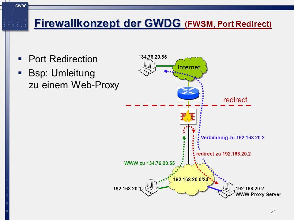 21 Firewallkonzept der GWDG Firewallkonzept der GWDG (FWSM, Port Redirect) Port Redirection Bsp: Umleitung zu einem Web-Proxy Internet 192.168.20.1 19