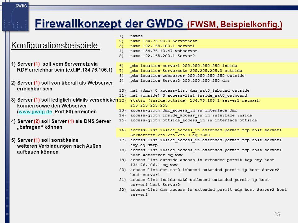 25 Firewallkonzept der GWDG Firewallkonzept der GWDG (FWSM, Beispielkonfig.) Konfigurationsbeispiele: 1)Server (1) soll vom Servernetz via RDP erreich