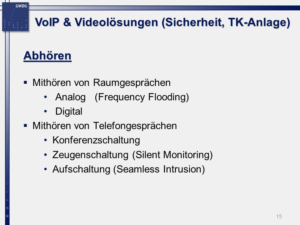 15 Abhören Mithören von Raumgesprächen Analog (Frequency Flooding) Digital Mithören von Telefongesprächen Konferenzschaltung Zeugenschaltung (Silent M