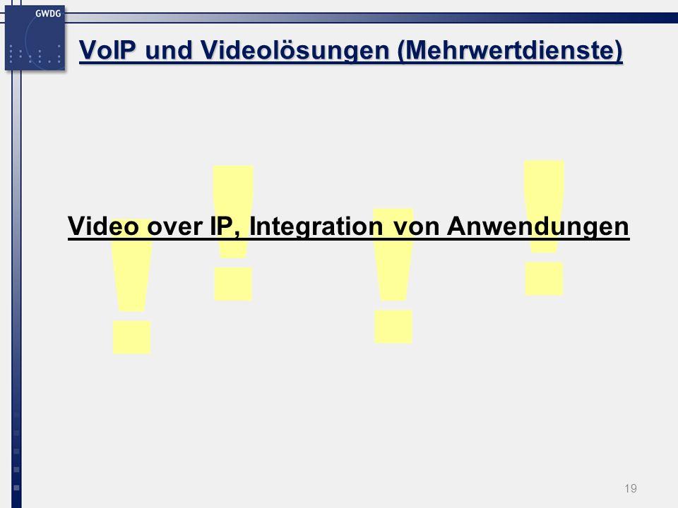 19 ! ! ! ! Video over IP, Integration von Anwendungen VoIP und Videolösungen (Mehrwertdienste)