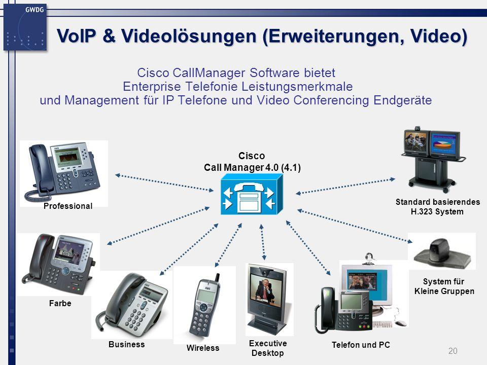 20 Cisco CallManager Software bietet Enterprise Telefonie Leistungsmerkmale und Management für IP Telefone und Video Conferencing Endgeräte Cisco Call