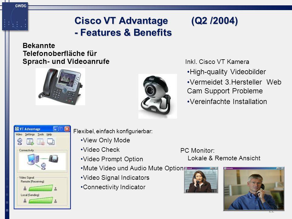 22 Cisco VT Advantage (Q2 /2004) - Features & Benefits Flexibel, einfach konfigurierbar: View Only Mode Video Check Video Prompt Option Mute Video und