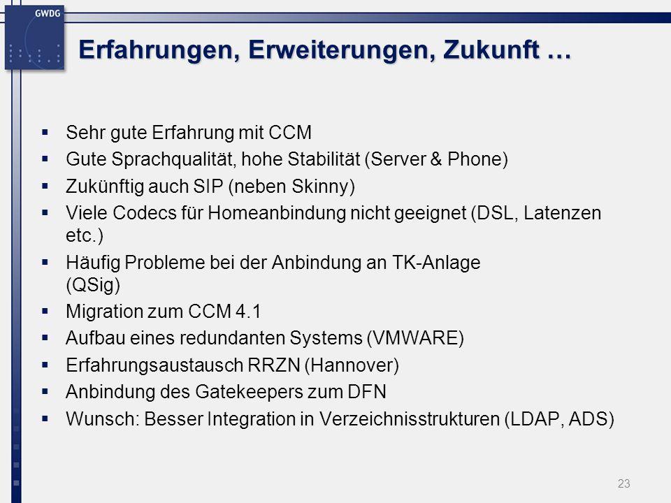 23 Erfahrungen, Erweiterungen, Zukunft … Sehr gute Erfahrung mit CCM Gute Sprachqualität, hohe Stabilität (Server & Phone) Zukünftig auch SIP (neben S
