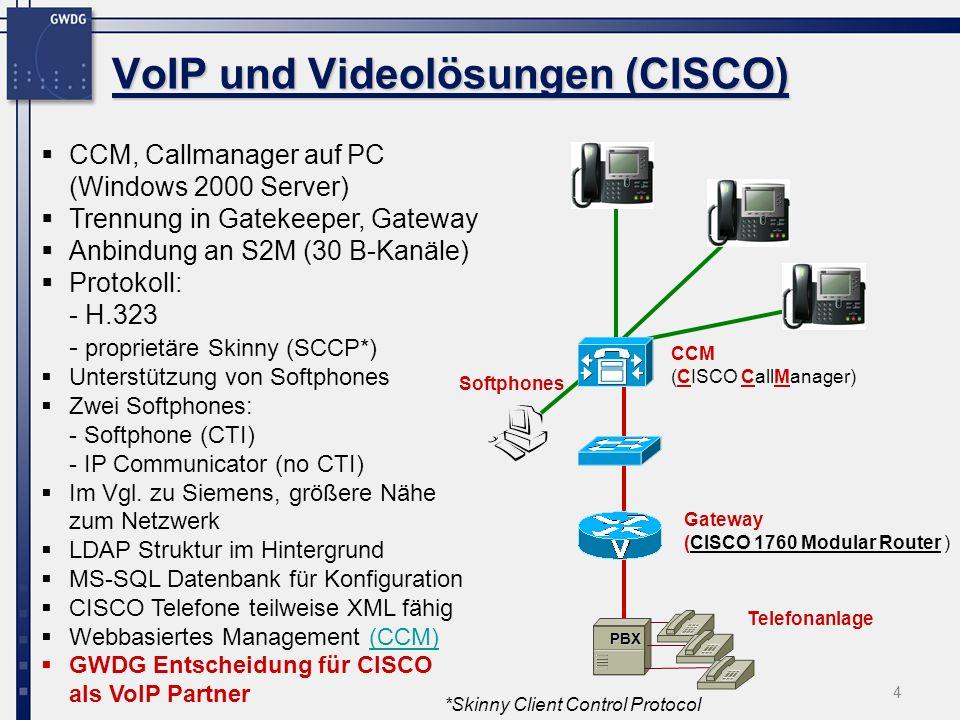 4 VoIP und Videolösungen (CISCO) CCM, Callmanager auf PC (Windows 2000 Server) Trennung in Gatekeeper, Gateway Anbindung an S2M (30 B-Kanäle) Protokol