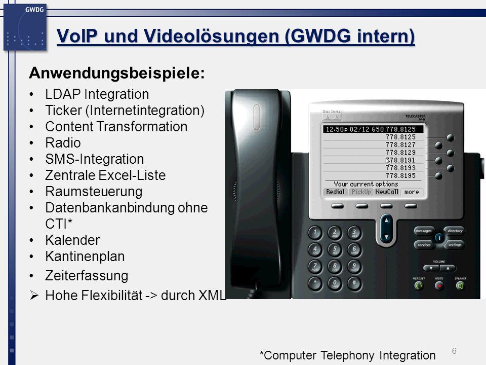 6 Anwendungsbeispiele: LDAP Integration Ticker (Internetintegration) Content Transformation Radio SMS-Integration Zentrale Excel-Liste Raumsteuerung D