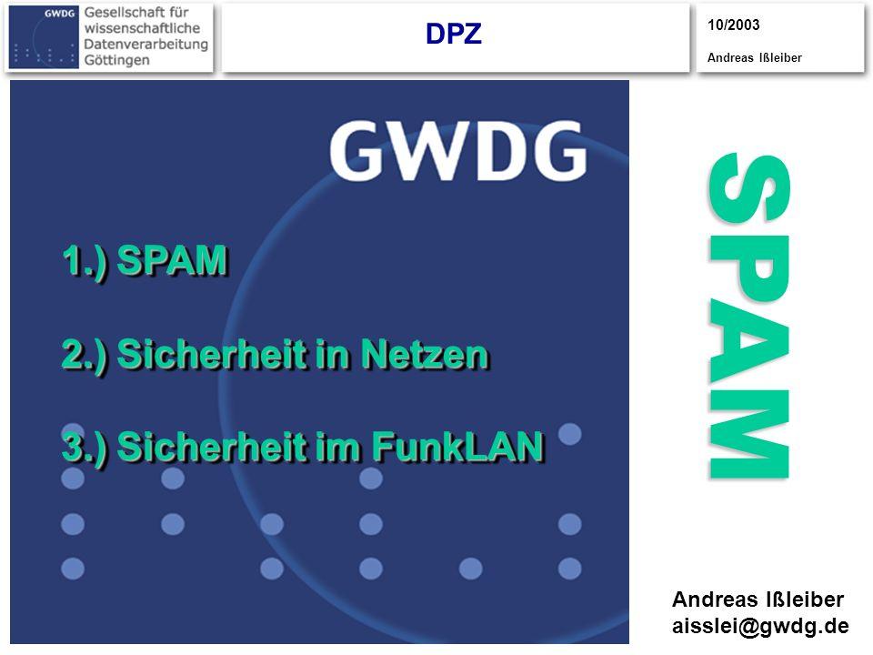 12 SPAM 10/2003 Andreas Ißleiber Spam Assassin http://www.spamassassin.org http://www.spamassassin.org Mit SPAM Assassin wird jede eingehende Email nach bestimmten Kriterien untersucht und die SPAM Wahrscheinlichkeit durch ein Punktesystem ermittelt Über eigene Blacklists (RBL) können Domainen automatisch abgewiesen werden SPAM bekämpfen .