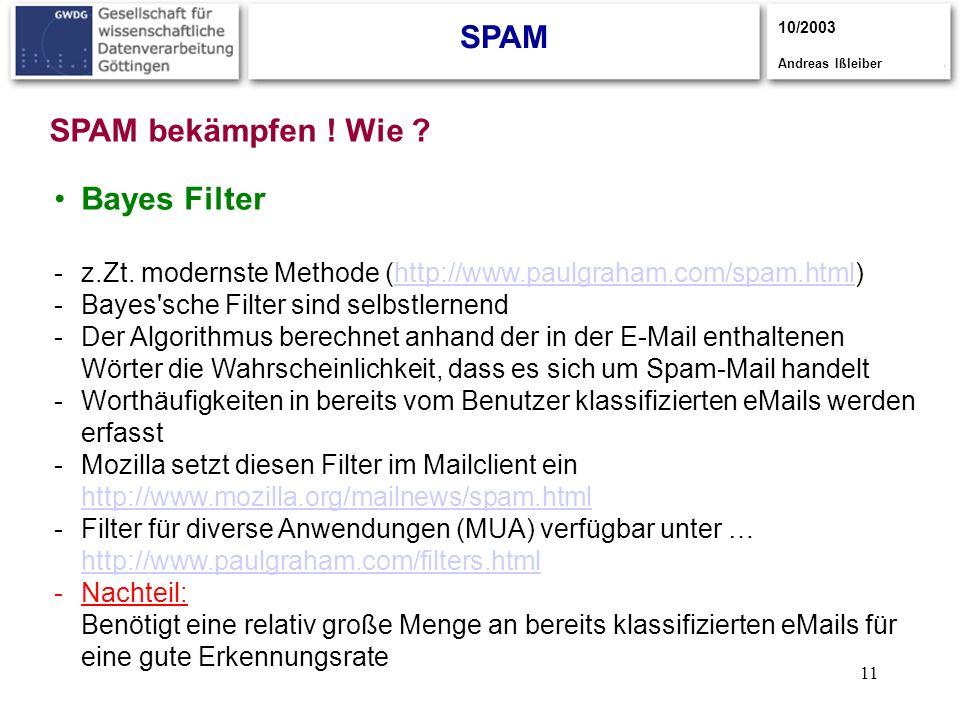 11 SPAM 10/2003 Andreas Ißleiber Bayes Filter -z.Zt. modernste Methode (http://www.paulgraham.com/spam.html)http://www.paulgraham.com/spam.html -Bayes
