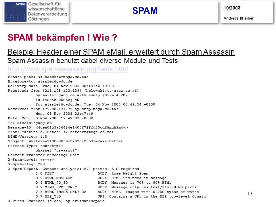 13 SPAM 10/2003 Andreas Ißleiber SPAM bekämpfen ! Wie ? Return-path: Envelope-to: aisslei@gwdg.de Delivery-date: Tue, 04 Nov 2003 00:49:54 +0100 Recei