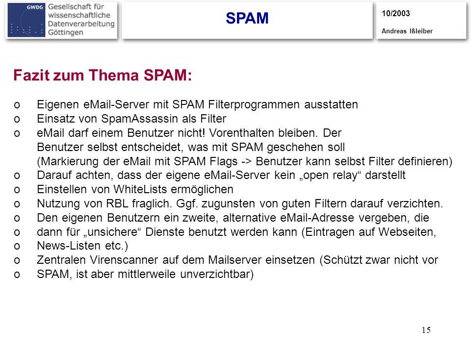 15 SPAM 10/2003 Andreas Ißleiber Fazit zum Thema SPAM: oEigenen eMail-Server mit SPAM Filterprogrammen ausstatten oEinsatz von SpamAssassin als Filter