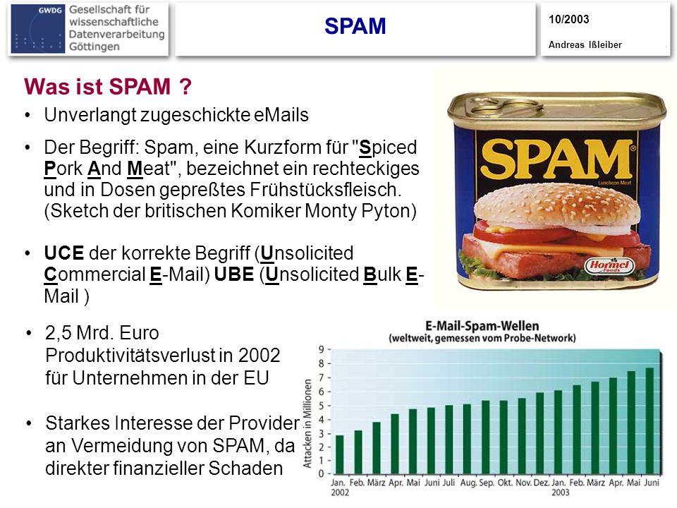 3 SPAM 10/2003 Andreas Ißleiber Was ist SPAM .