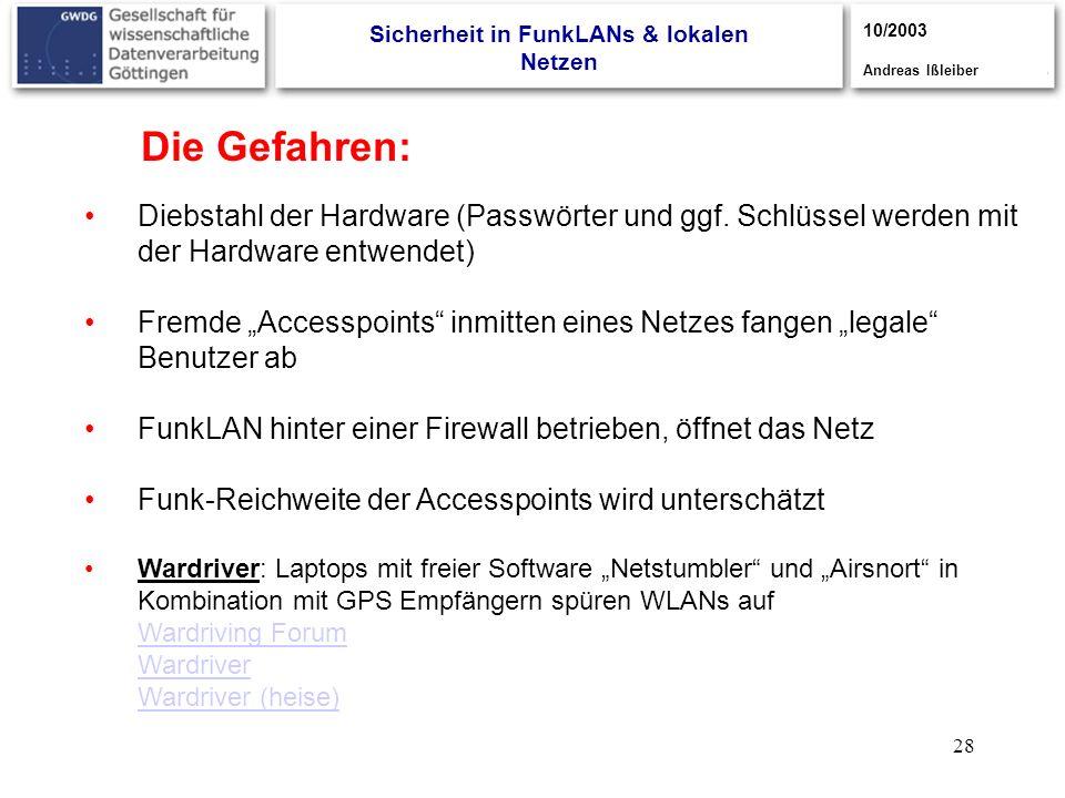 28 Die Gefahren: Diebstahl der Hardware (Passwörter und ggf. Schlüssel werden mit der Hardware entwendet) Fremde Accesspoints inmitten eines Netzes fa