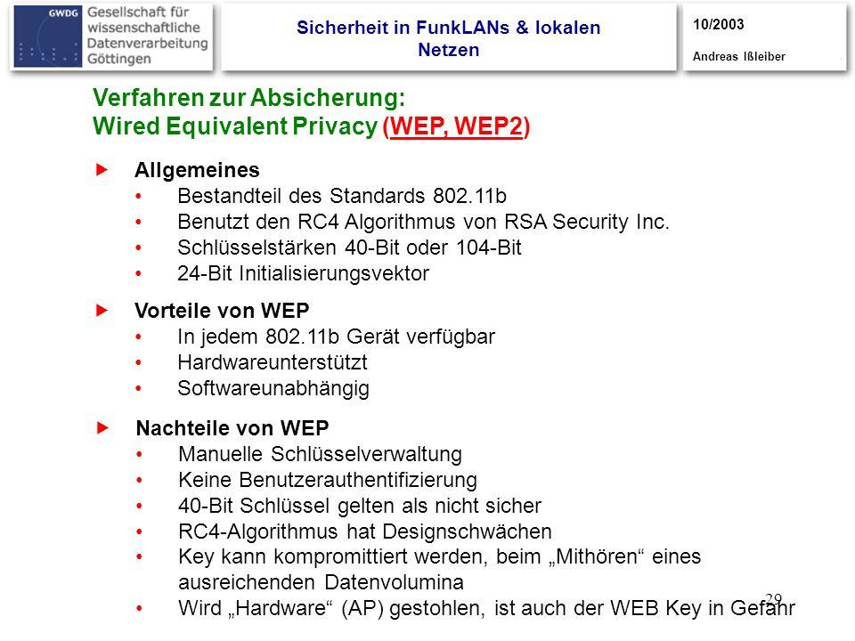 29 Verfahren zur Absicherung: Wired Equivalent Privacy (WEP, WEP2) Allgemeines Bestandteil des Standards 802.11b Benutzt den RC4 Algorithmus von RSA S