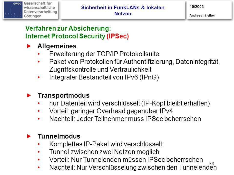 33 Verfahren zur Absicherung: Internet Protocol Security (IPSec) Allgemeines Erweiterung der TCP/IP Protokollsuite Paket von Protokollen für Authentif