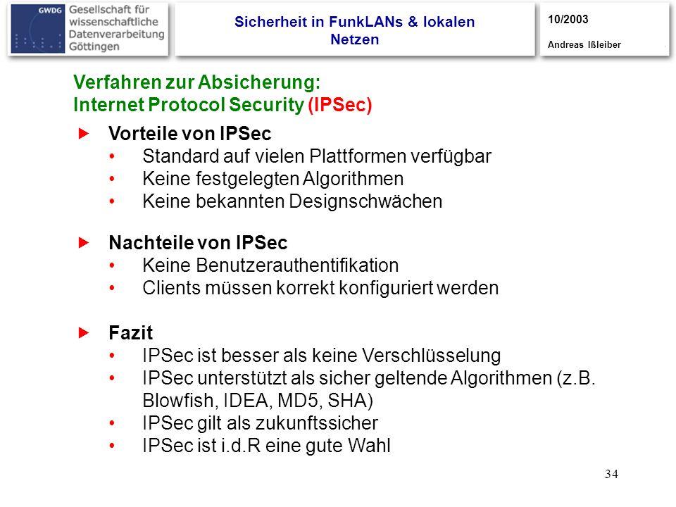 34 Vorteile von IPSec Standard auf vielen Plattformen verfügbar Keine festgelegten Algorithmen Keine bekannten Designschwächen Fazit IPSec ist besser