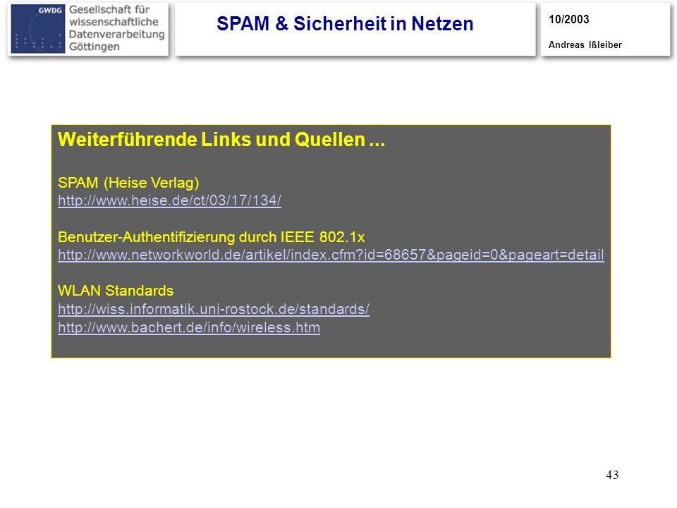 43 Weiterführende Links und Quellen... SPAM (Heise Verlag) http://www.heise.de/ct/03/17/134/ Benutzer-Authentifizierung durch IEEE 802.1x http://www.n